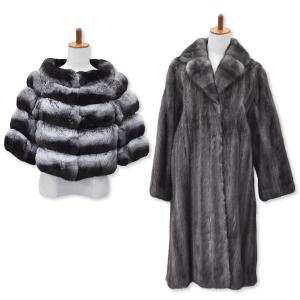 チンチラの毛皮ショールとブルーアイリスの毛皮ロングコート
